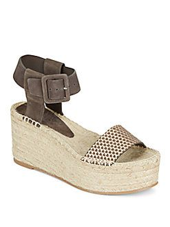 VINCE Abby Suede & Metallic Leather Espadrille Platform Wedge Sandals. #vince #shoes #sandals