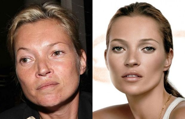 Kate Moss before and after make up , studio lighting and photoshop