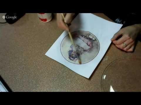 Т.Чимбирь.Обратный декупаж тарелки+Л.Раевская. Деревянный поднос - YouTube