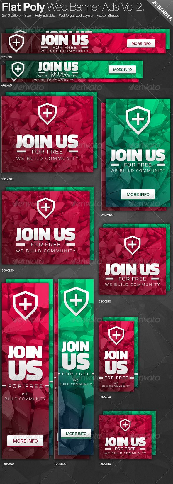 Flat Poly Web Banner Ads Template PSD   Buy and Download: http://graphicriver.net/item/flat-poly-web-banner-ads-vol-2/6769411?WT.ac=category_thumb&WT.z_author=hoodedclaw&ref=ksioks