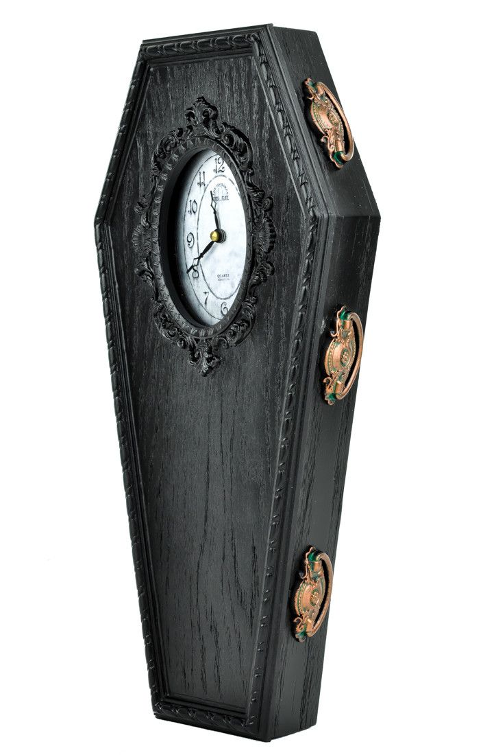 Black Classic Gothic Coffin Wall Clock Halloween Home Decor