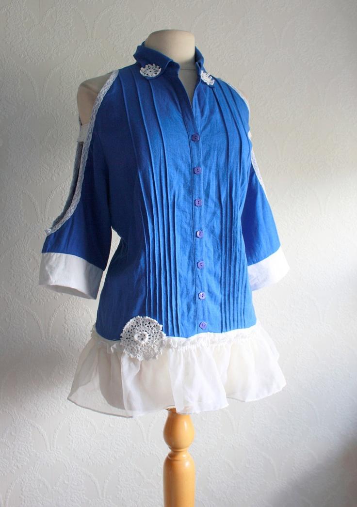 Cobalt Blue Linen Shirt Women's Clothing Upcycled Tunic