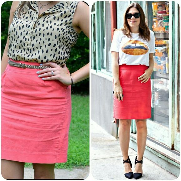 j crew// coral pencil skirt Comfy cotton pencil skirt in a coral/orange. A fab color that spans the seasons. From factory. J. Crew Skirts Pencil