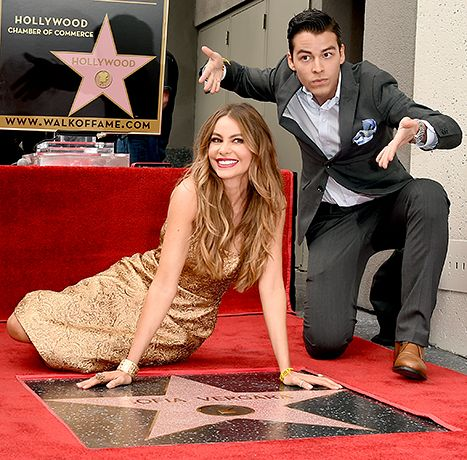 Sofia Vergara poses with her son Manolo Gonzalez-Ripoll Vergara as she is honored on The Hollywood Walk Of Fame on May 7