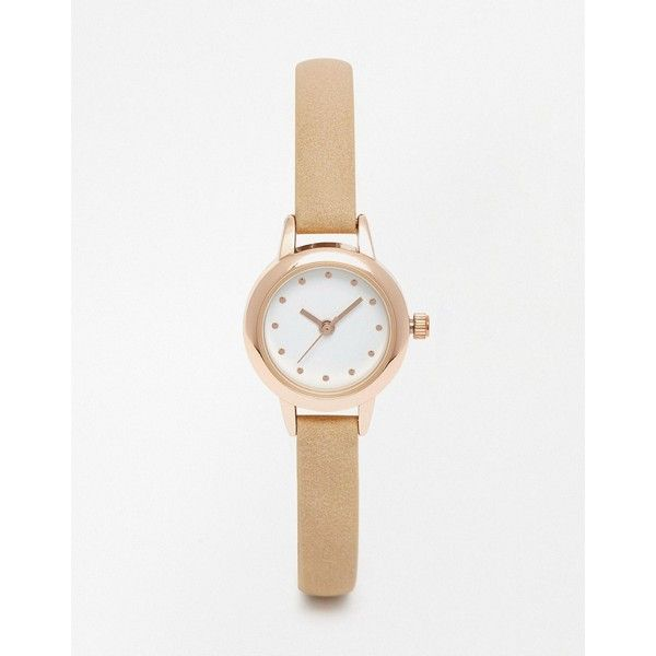 ASOS Skinny Strap Mini Dial Watch (26,995 KRW) ❤ liked on Polyvore featuring jewelry, watches, nude, pin jewelry, dot jewelry, polka dot jewelry, polka dot watches and leather-strap watches