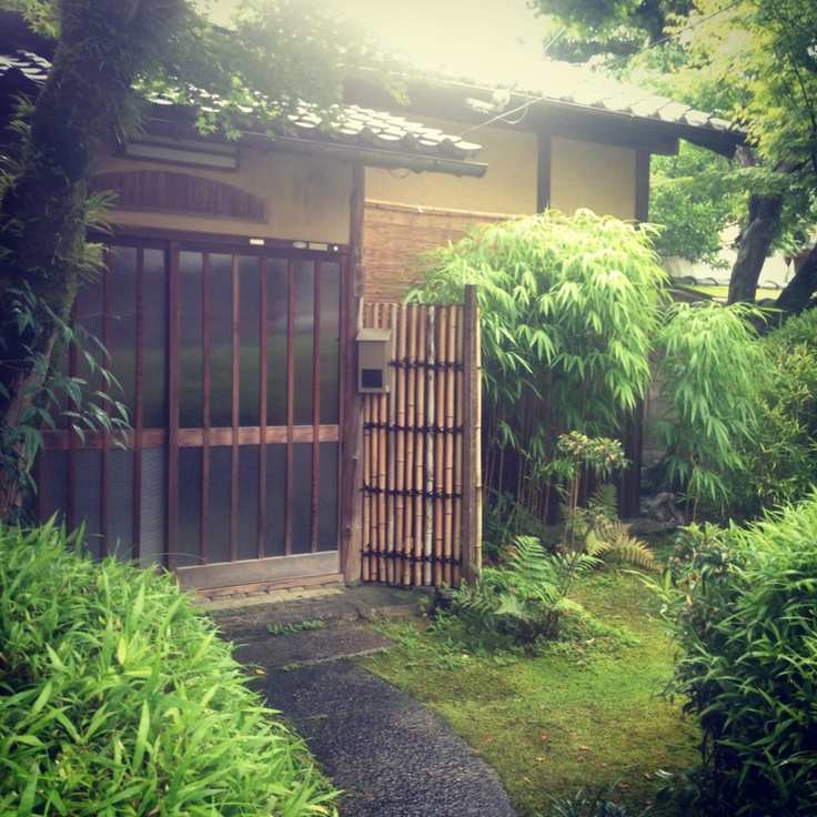 Japanese house with bamboo garden
