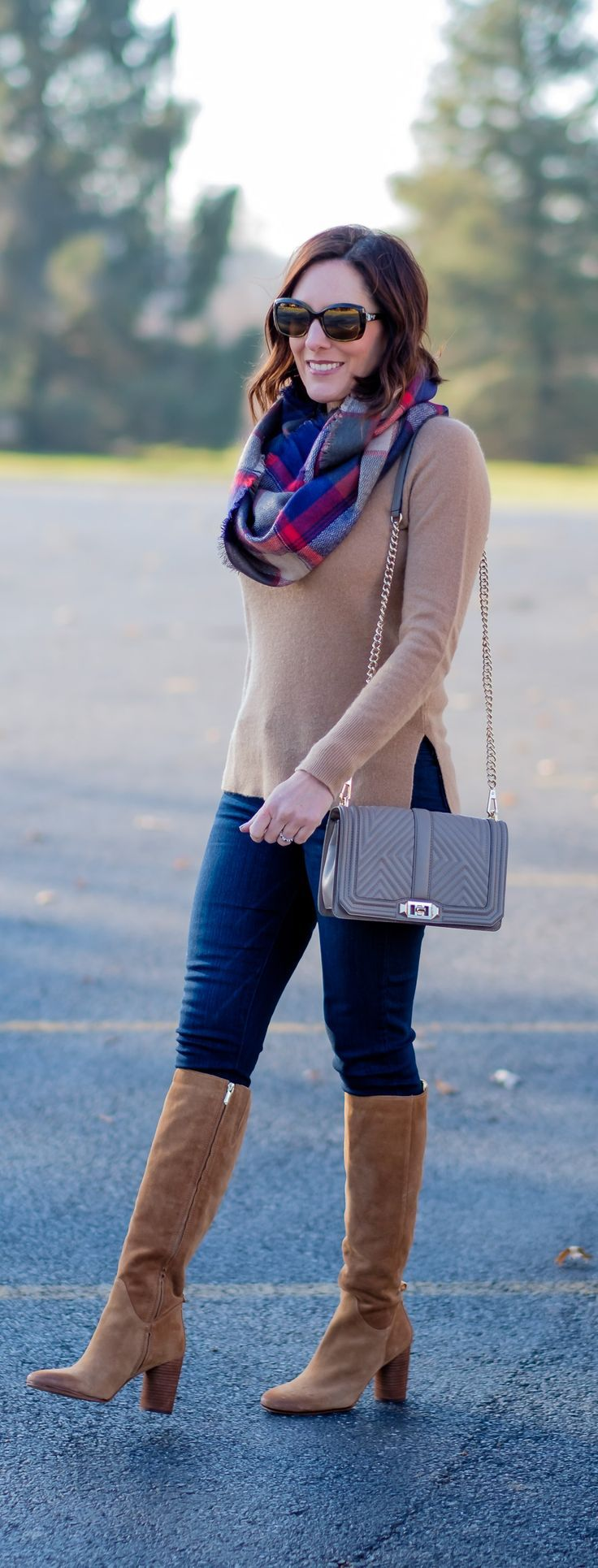 winter outfit inspo | camel cashmere sweater | paige verdugo crop jeans | rebecca minkoff geo quilted love crossbody mushroom | sam edelman camellia tall boots | plaid infinity scarf | fashion over 40 | winter style | philadelphia fashion blog