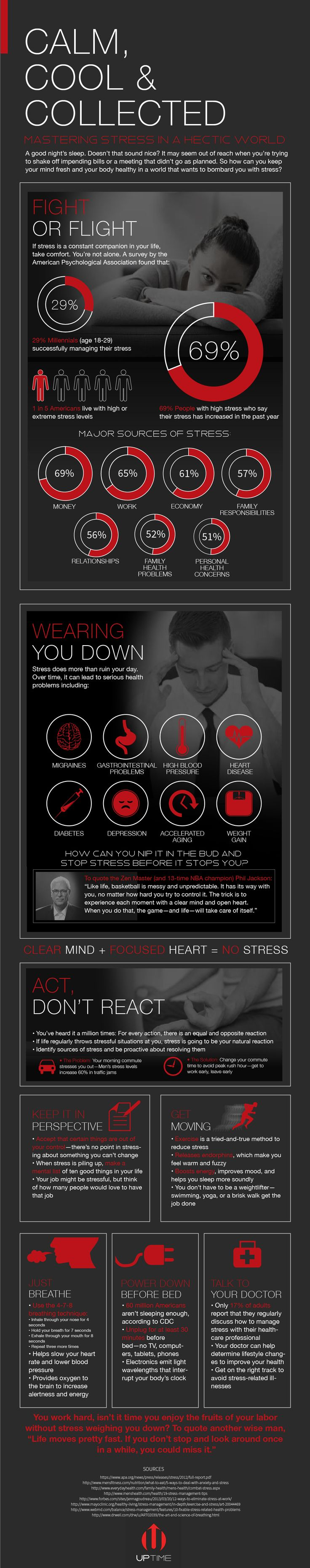 Calm, Cool, Collected: Mastering Stress in a Hectic World [by UPTIME Energy -- via #tipsographic]. More at tipsographic.com