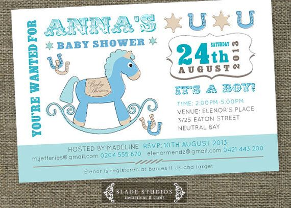 Vintage rocking horse baby shower invitations by SladeStudios, $20.00