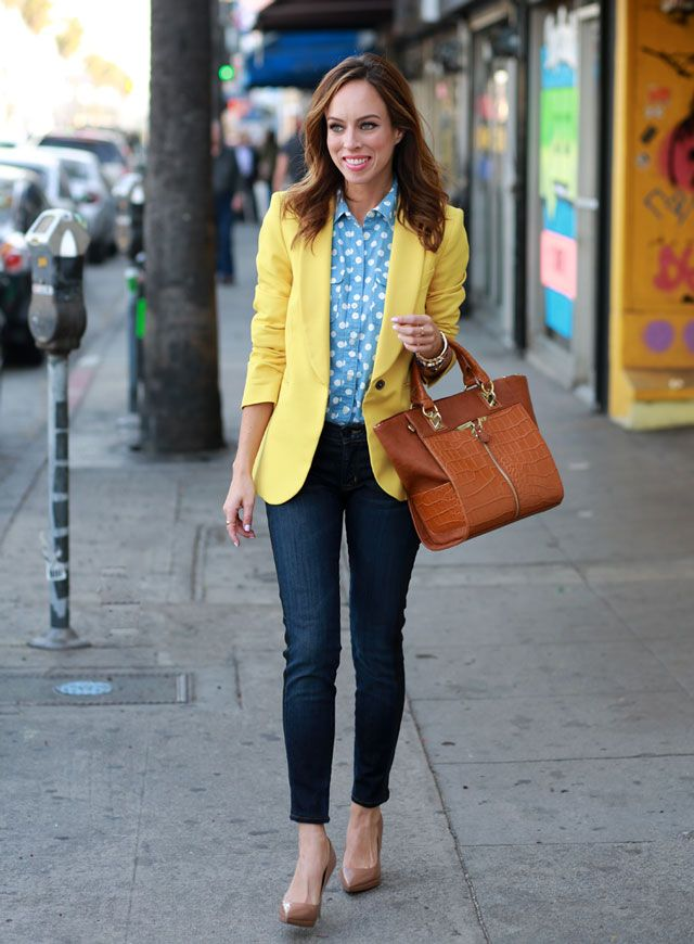 Sydne-Style-how-to-wear-polka-dots-spring-trends-yellow-outfit-ideas-loft-denim-on-denim-nude-pumps