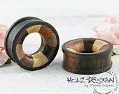 SALE 4-30mm Pair wooden Flesh tunnel multi wood Inlay ear plugs handmade wooden gauge plug organic flesh tunnel