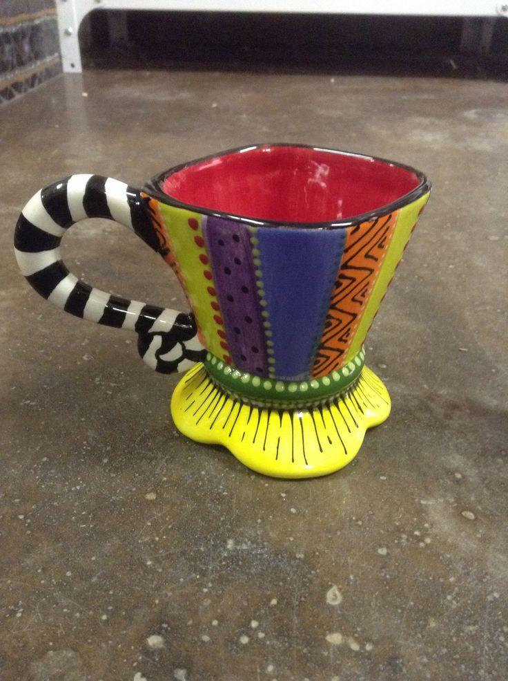 Funky ceramic painted coffee mug lisa b 39 s ceramics pinterest ceramics kid and coffee mugs - Funky espresso cups ...