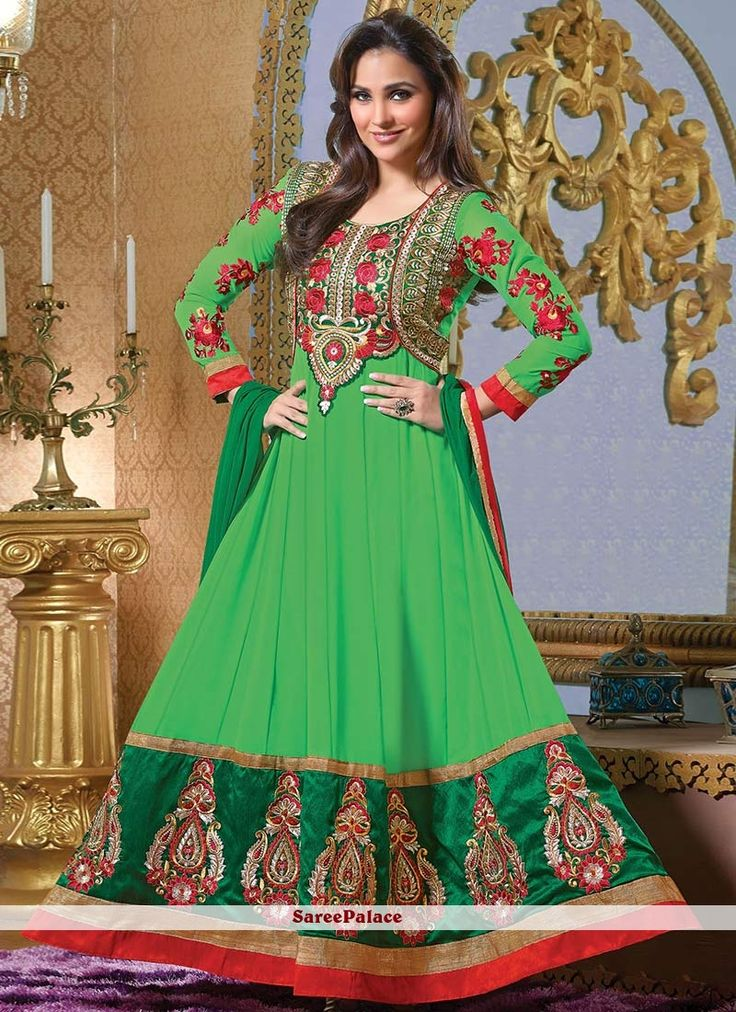 Lara Dutta Style Green Georgette Anarkali Suit