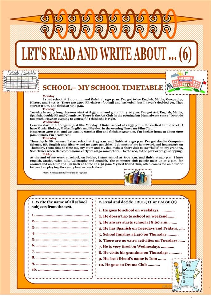 Let's read and write about ... (6) - My School Timetable