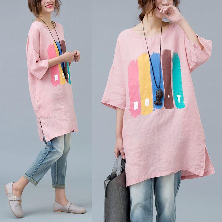 Хлопчатобумажная и льняная женская короткая льняная блузка, свободная пять рукавов 200 фунтов жира, мм летом плюс толстая XL футболка с коротким рукавом - Taobao