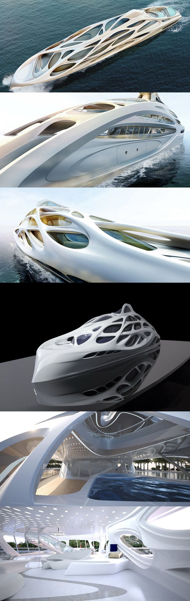 """Unique Design Circle Yachts    Zaha Hadid Collaborates With Blohm + Voss on Designing 5 Superyachts    Zaha Hadid is designing five individual superyachts for German shipbuilders Blohm + Voss called Unique Circle Yachts. They are based off of the concept of a 128 meter master prototype. """"The overall design is informed by fluid dynamics and underwater ecosystems, with hydrodynamic research shaping the design of the hull."""""""