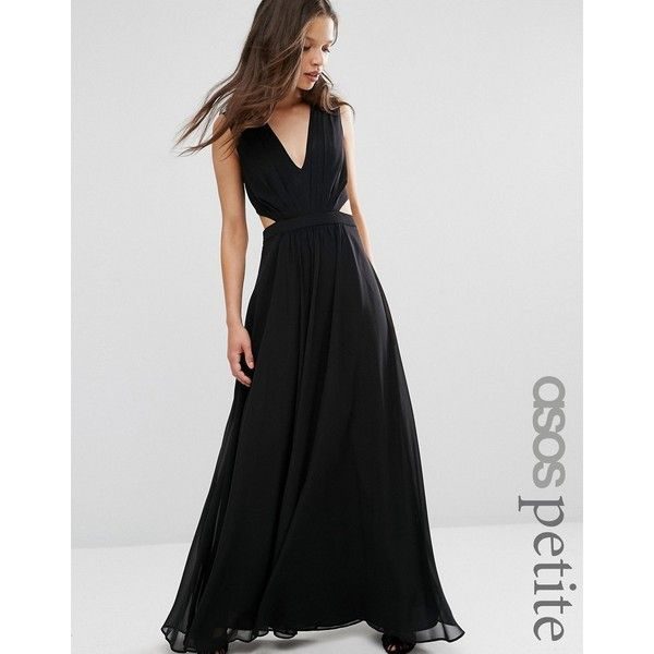 ASOS PETITE Side Cut Out Maxi Dress ($69) ❤ liked on Polyvore featuring dresses, black, petite, maxi dresses, petite dresses, v-neck dresses, lined dress and lined maxi dress