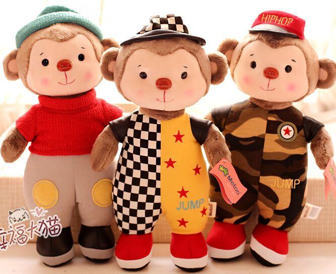 NEW YEAR Gift for kids 1pc 38cm metoo overalls sweater stripe monkey plush doll novelty romantic girl stuffed toy