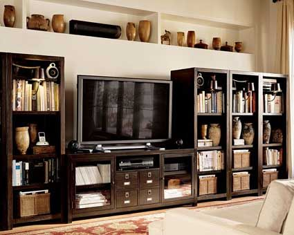 Tv Stand Surrounded By 2 Book Shelves Makes It Look Like One Big Entertainment Center