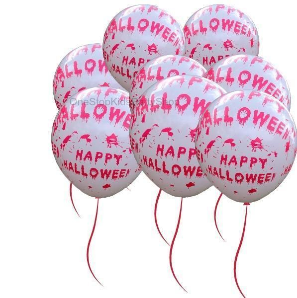this listing is for 1 pack of 8 happy halloween blood splatters balloons please note the red balloon string is not included listing is for the balloons - Halloween Supply Store