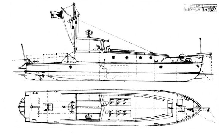 Škoda, Škoda, Těžké vlečné čluny OMvt 31 a OMvt 32. Plán byl nakreslen podle dochovaného projekčního výkresu Škodových závodů číslo Ln 292 P z března 1933 s doplňky a úpravami podle fotodokumentace (přední štítnice aj.). Minový člun číslo 2 byl bez ochranného oblouku na zrcadle.