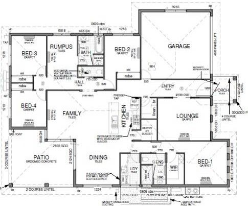 Floor plan house design 4 bedrooms theatre room for House plans with large kitchen and family room