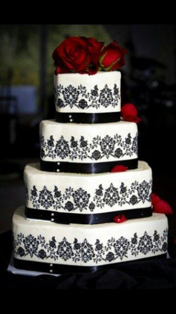 Wedding cake black white red
