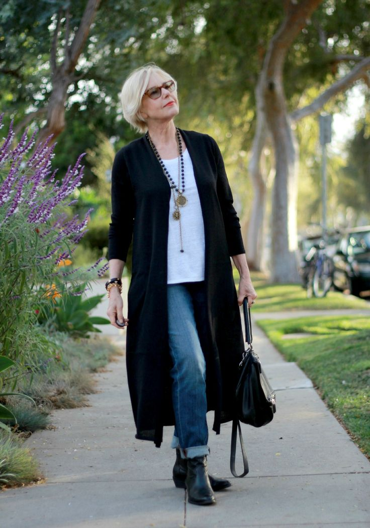 Boyfriend jeans and long cardigan from Une femme.  Eileen Fisher cardigan, French Kande necklaces, boyfriend jeans, Paul Green ankle boots
