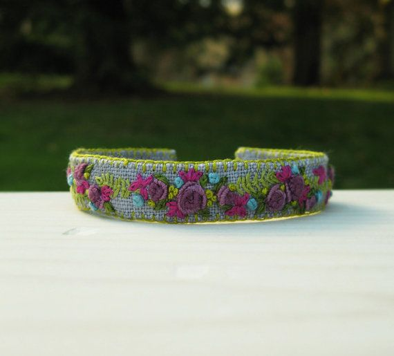 Purple Roses Hand Embroidered Cuff Bracelet by Sidereal on Etsy