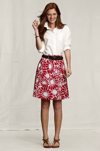 Lands' End Canvas:: Pleated Full Skirt in Flower Print from S/S11