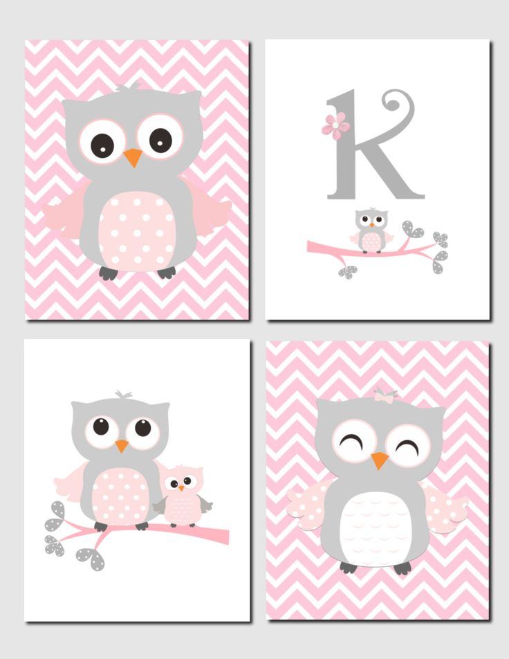 Owl Nursery Art Pink Gray Owls Initial Monogram Baby Girl Kids Art Chevron Girls Room Owl Nursery Decor Set of 4 Prints or Canvas by vtdesigns on Etsy https://www.etsy.com/listing/235849402/owl-nursery-art-pink-gray-owls-initial