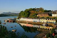 Colourful Portree harbour panorama, Isle of Skye