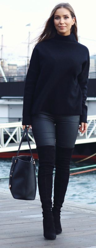 Emilie Tømmerberg + thigh high boots + simple, minimalistic style + leather leggings + chic black polo neck sweater Sweater: Selected Femme, Trousers: Zara, Bag: Michael Kors, Boots: Stuart Weitzman.