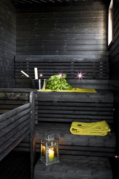 Sauna with blackened wood