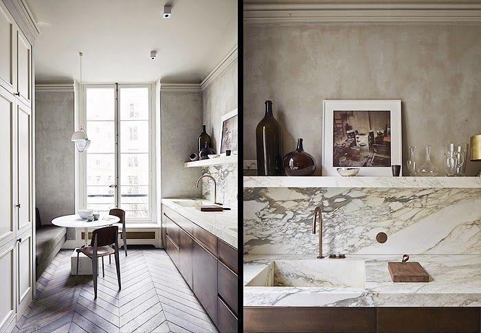 Joseph Dirand - Paris Kitchen. Like the continuity of the marble counter, backsplash and shelf.