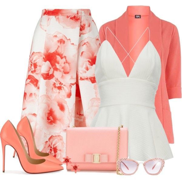 Coral outfit - Heels - Polyvore , Fever Fish, Jacques Vert, Christian Louboutin, Salvatore Ferragamo, Kate Spade and Miu Miu