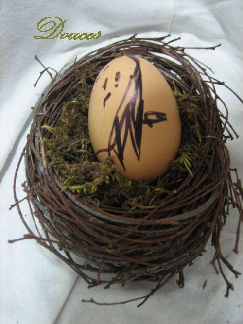 vajíčko, ptáček, hnízdečko z březového proutí, velikonoce