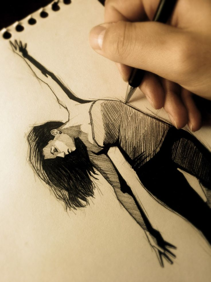 I draw with pencil a sexy hot girl who dances