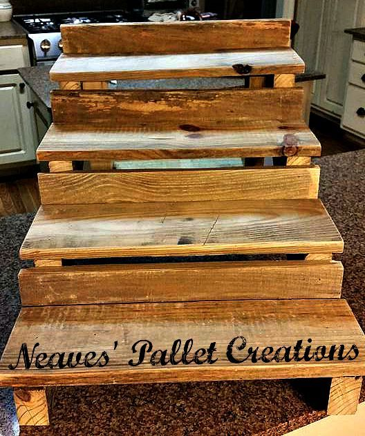 """RECYCLED WOOD PALLETS: This is a Cupcake Stand. It has 4 tiers that are 5.5"""" deep and an overall width of 18"""". It stands 16"""" high and is 23"""" deep.  This table/counter top shelving system could be used for many display ideas. You could put pictures, wine glasses, any tasty treats you desire, or even put Christmas Cards that you have received on display. We are selling this item for $25 """"naked"""" and $35 if we paint/stain it for you. Message us if you would like to place an order. Item #642"""