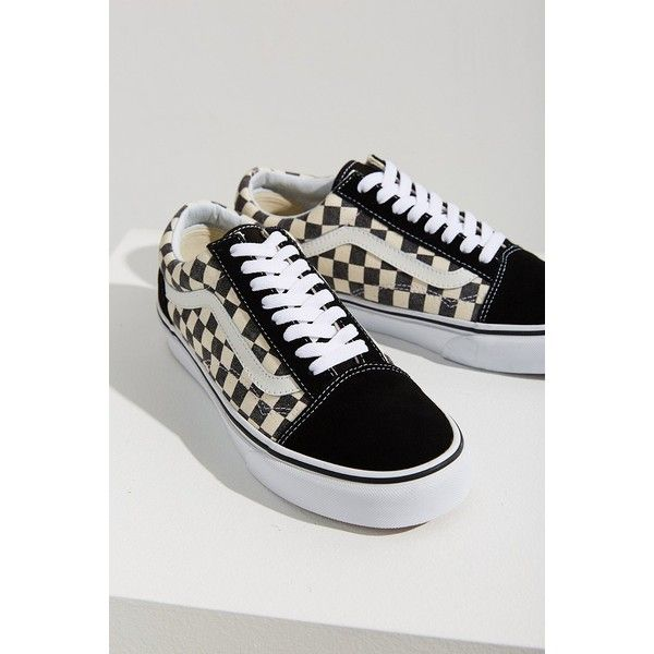 black and white checkerboard vans with yellow stripe