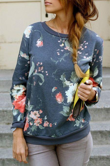 Vintage Floral Long Sleeve Sweatshirt