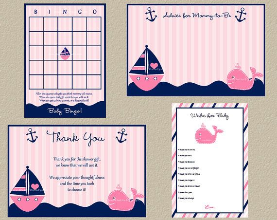 Girls Pink Nautical Baby Shower Suite: Advice, Wishes for Baby, Thank You, Baby Bingo, Digital  Files, Print Yourself, DIY, INSTANT download on Etsy, $15.00