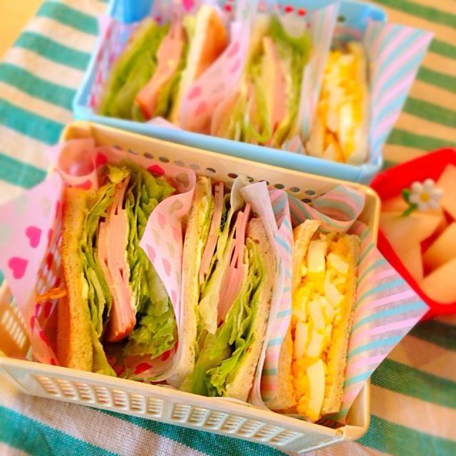 卵、ハムレタス、ハムチーズ。 - 43件のもぐもぐ - ミックスサンドイッチ弁当 by Nagashima  Yuko