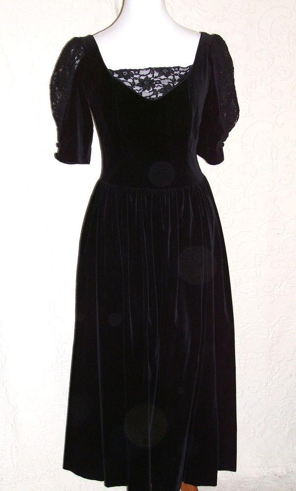 Laura Ashley Vintage 80s Black Velvet Dress 6 8 10 12 Lace Victorian M Gothic #LauraAshley