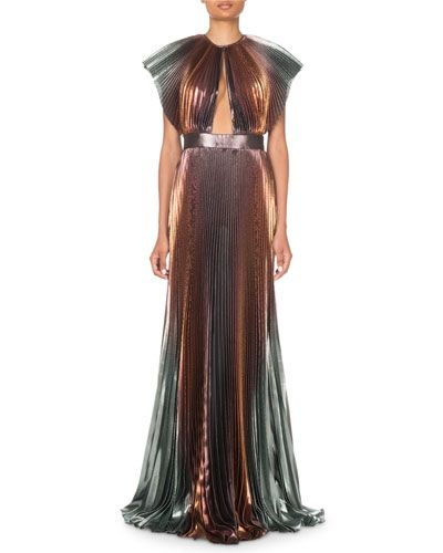 780ca0e4c252 B4LGD Givenchy Metallic-Ombre Plisse Cutout Gown