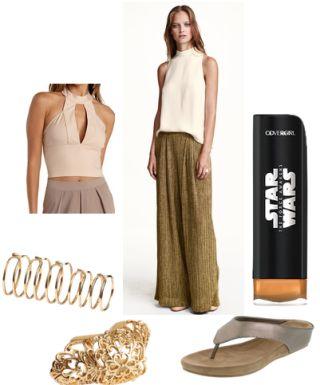 Brown pants, neutral shirt, gold rings, neutral flip flops, gold makeup