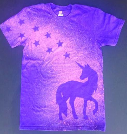 Purple and Pink Unicorn T-shirt with Stars Magical by MoonHappy