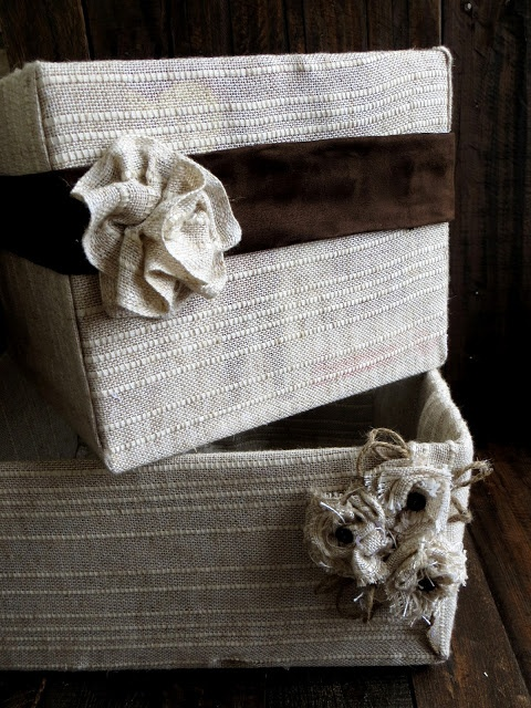 Fabric covered cardboard boxes