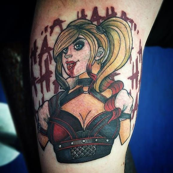 18 harley quinn tattoos to wait before suicide squad for Suicide squad face tattoo