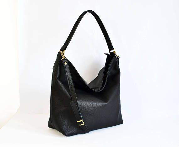 LEATHER HOBO Bag Black Leather bag Leather tote bag Women